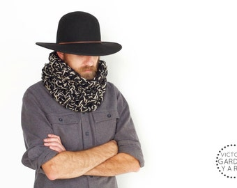 THE BRACKISH COWL | 20 Color Choices | Mens Scarf Cozy Chunky Textured Knit Infinity Cowl