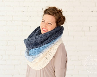 SALE   The Ombré Cowl   TURQUOISE   Chunky Knit Ombré Oversized Huge Textured Winter Cowl Scarf