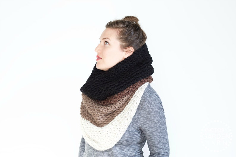 The Ombré Cowl  COCOA  Chunky Knit Ombré Oversized Huge image 0