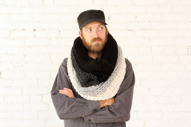 The Ombré Cowl  SMOKE  Mens Chunky Knit Ombré Oversized Huge image 0