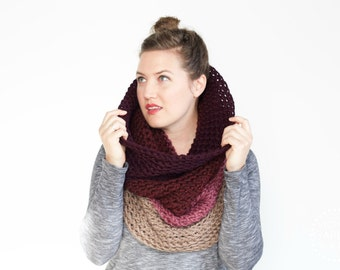 SALE   The Ombré Cowl   Orchid   Chunky Scarf Knit Ombré Oversized Huge Textured Winter Cowl