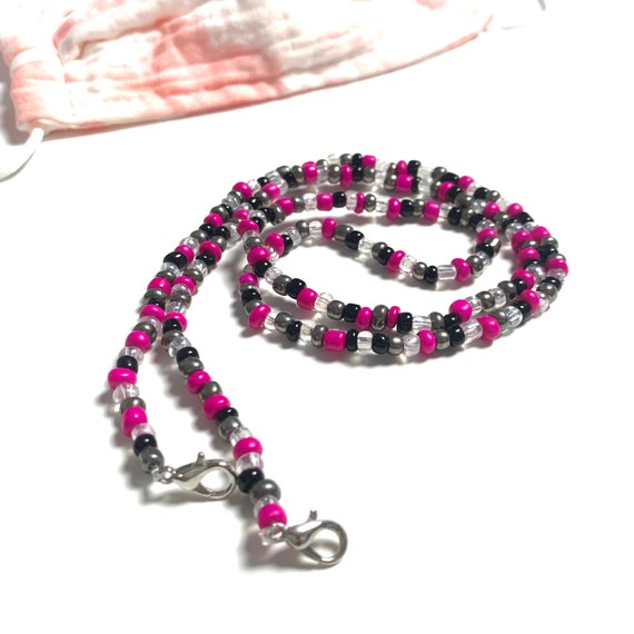Beaded MasklaceMask Necklace Clear and Coral Seed Beads Magenta