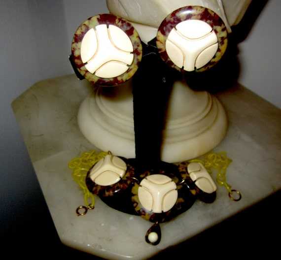 Art Deco Leopard Print & Domed Overlay Necklace an