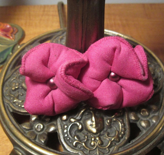 1960s Carnaby Street Hot Pink Fabric Flower Pin, A