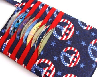 Cd Case Dvd Holder Video Game Storage Blu Ray Disc Case - USA Flag Peacesigns Fabric