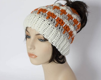 698078b5e09 Messy Bun Beanie - Three Color Messy Bun Beanie - Ponytail Beanie - Mom Bun  Beanie - Crochet Bun Hat - Ponytail Hat - Messy Bun Hat