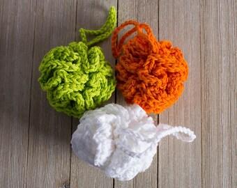 Shower Pouf Cotton Blend Loofah Cotton Shower Puff Bath Etsy