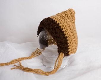 Pixie Hat - Newborn Photo Prop - Crochet Pixie Hat - Newborn Bonnet - Coffee Brown - Baby Pixie Bonnet - Elf Hat - Pixie Bonnet - Baby Hat