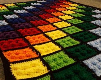 Lego Blanket - Crochet Lego Blanket - Lego Inspired Blanket - Building Blocks Blanket - Lego Style Crochet Afghan - Crochet Lego Throw