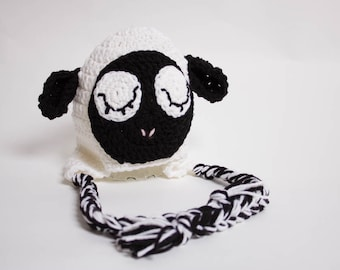 Crochet Lamb Hat - Newborn Photo Prop - Crochet Animal Hat - Baby Shower Gift - Animal Beanie - Matching Family Ski Hat - Ear Flap Beanie