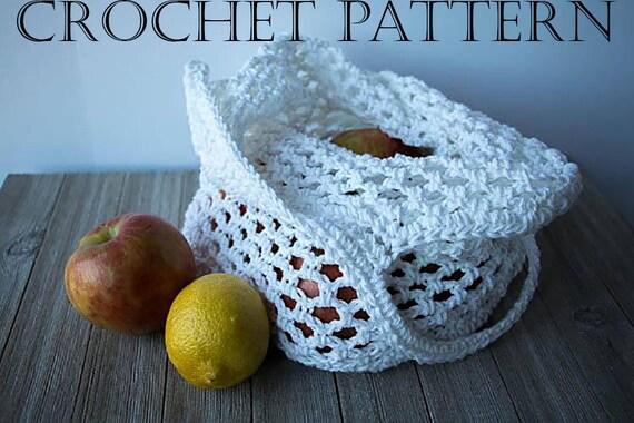 Market Bag White 100/% Cotton Crochet Produce Bag
