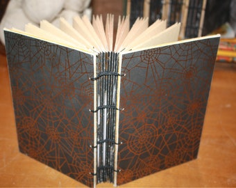 Spiderweb Journal, Halloween Guest book, Skull Journal, Spell Book, Wicca Book, Skulls notebook, Gold Hostess Gift, Halloween themed decor