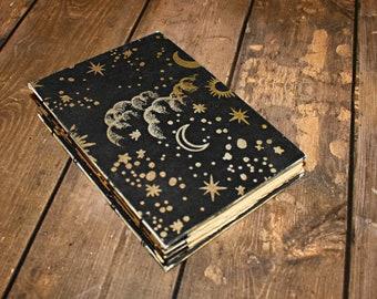 Dream Journal, Moon and Stars, blank book, Coptic Journal, Stars, cloud journal, Writing Notebook, Coptic Bound, Sleep notebook, Night sky