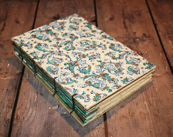 Blue Floral Writing Journal, Vintage Inspired notebook, coptic bound, First Anniversary Gift, gifts for her, blank journal, sketch book,