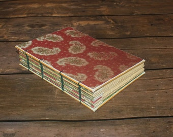 Coptic Journal, handmade diary, hostess gift, Winter wedding guestbook, Paisley Notebook, cranberry, burgundy,