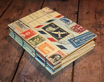 Vintage stamp and postcard journal, Travel Journal, Art Journal, Sketchbook, Fall writing, bound book, Handmade journal, coptic bound