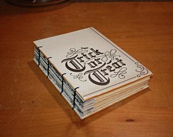 Trick or Treat Journal, Halloween, Hostess Gift, Guest book, Skull Journal, Spell Book, Wicca Book, Skulls notebook, Halloween themed decor