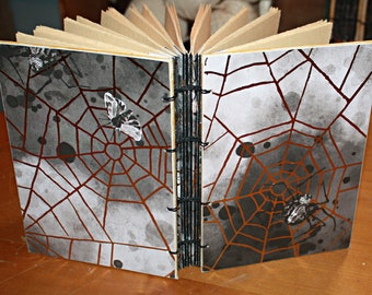 Spider and Web Journal, Insect Spell book, Gothic Book, Halloween party themed, Creepy Journal, Gold Foiled, Wiccan gift, Spellbook