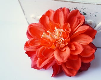 Large Orange Hair Flower Dahlia Clip