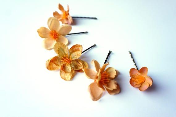 Orange blossom flowers bobby pin