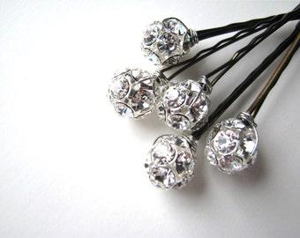 Clear Crystal Bobby Pins Wedding 12mm