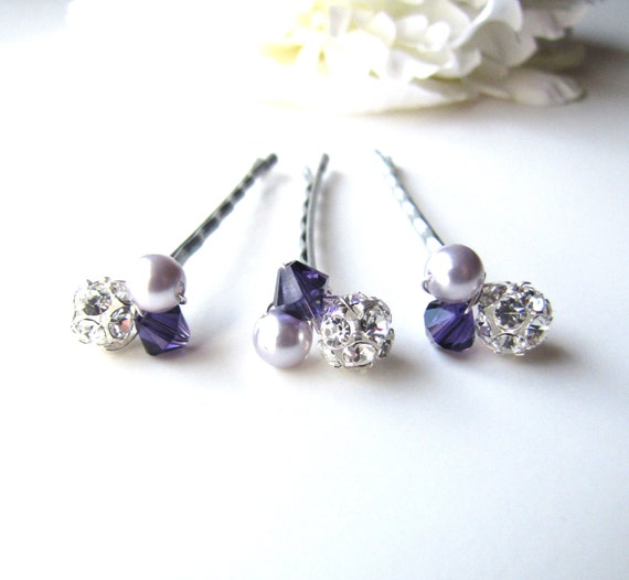 Purple and White Crystal Sequin Flower Bobby Pin Set