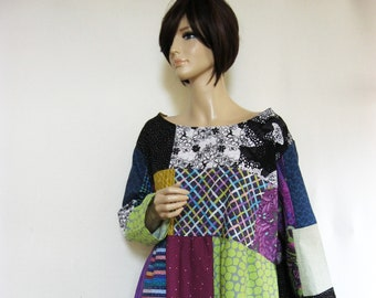 1X to 2X   Long Sleeves Cotton Dress Muted Colors