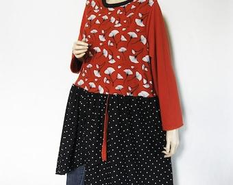XL to 1X Overlapped Skirt Dress