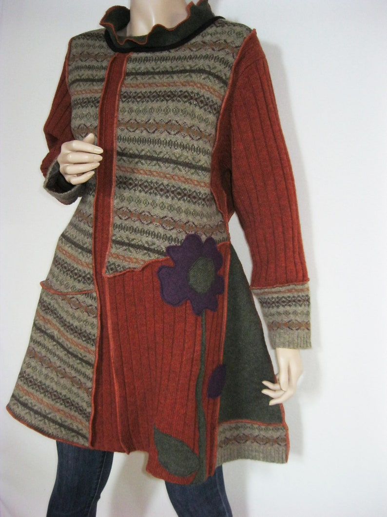L to XL  Wool Dress with Flower image 0