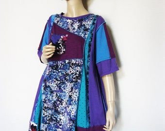 1X Turquoise Purple T Shirt Tunic