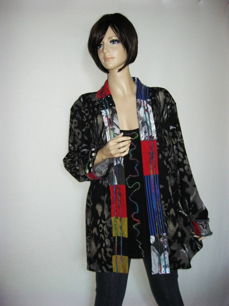 2X to 3X  Silky Shirt with attached Jacket image 0