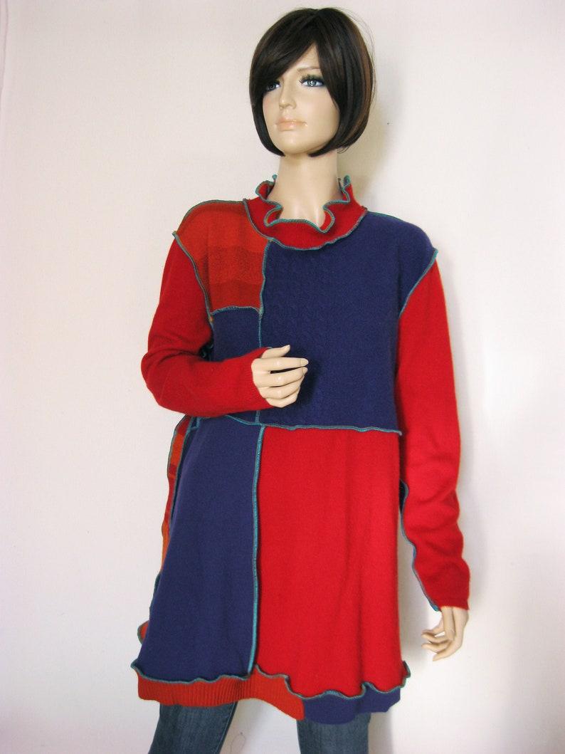XL Red Rust Purple Cashmere Wool Dress