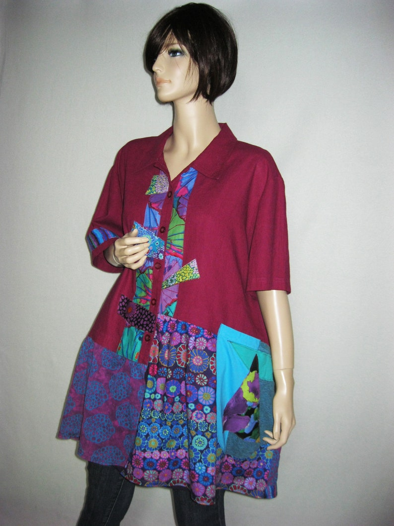 X to 2X  Wine Colored Linen Tunic with Pocket image 0