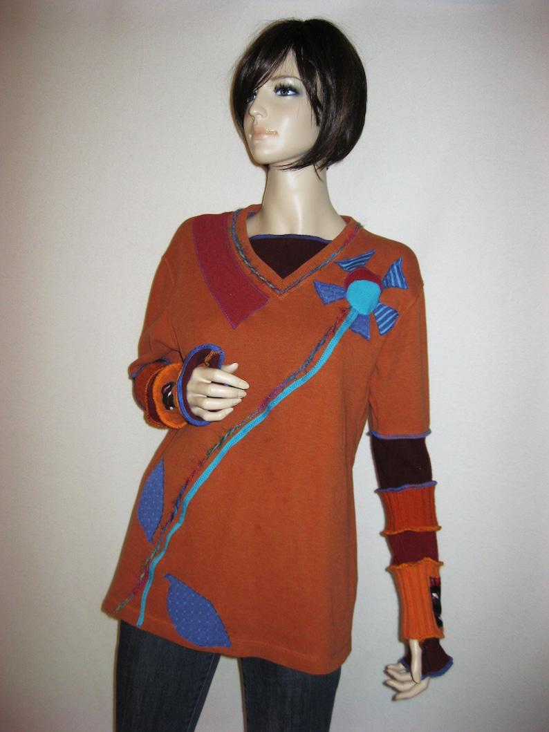 Size L  Burnt Orange Boho Sweater image 0