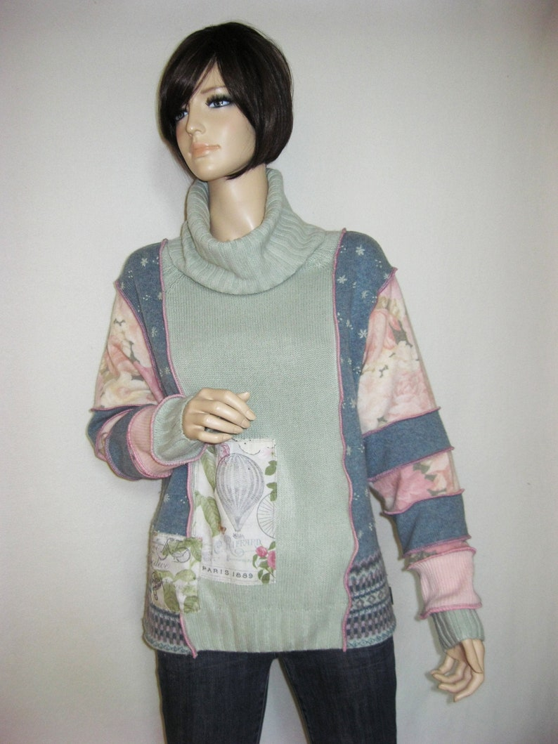 XL Dusty Blue and Mint Sweater image 0