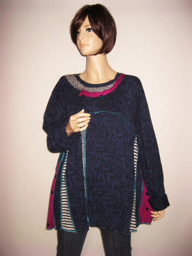 1X to 3X  Blue Cotton Knit Tunic image 0