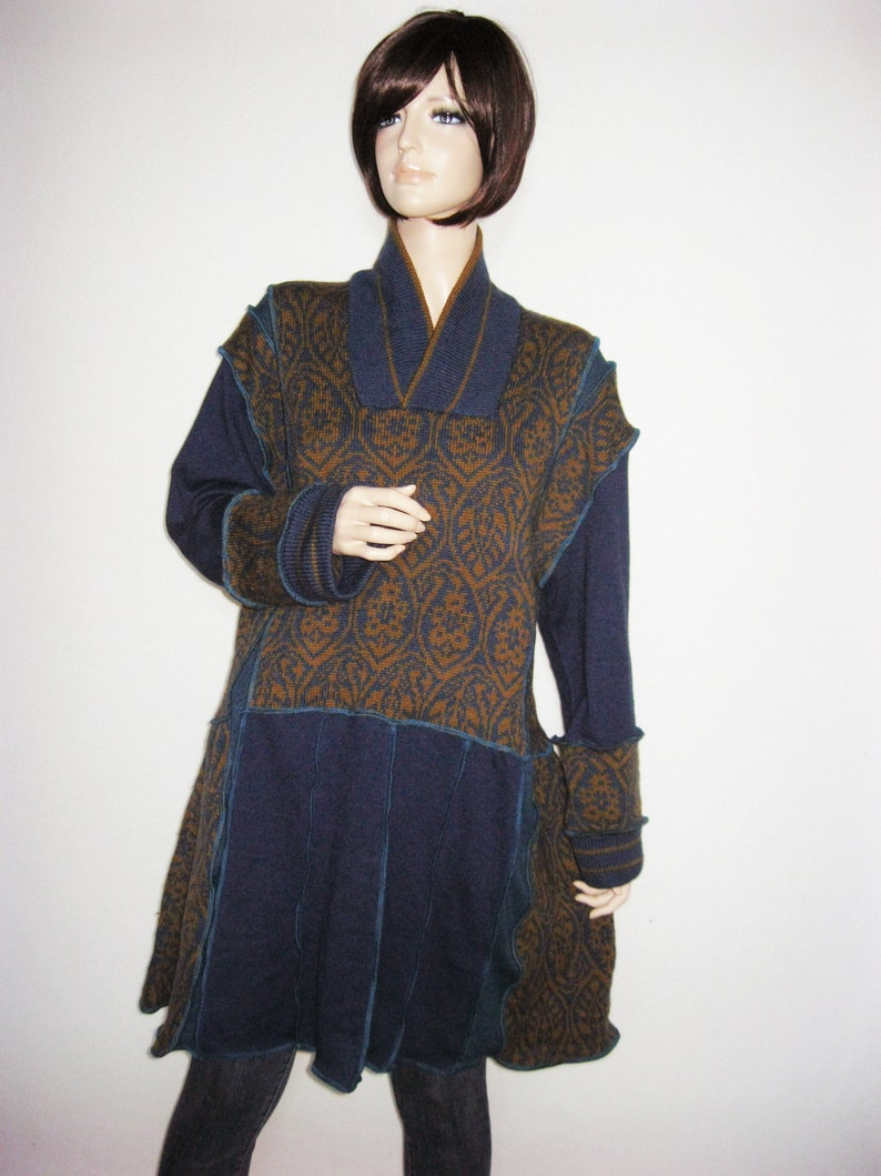 XL Sweater Dress Mustard and Teal image 0