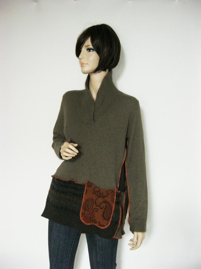 L to XL  Khaki Angora Tunic Pocket image 0