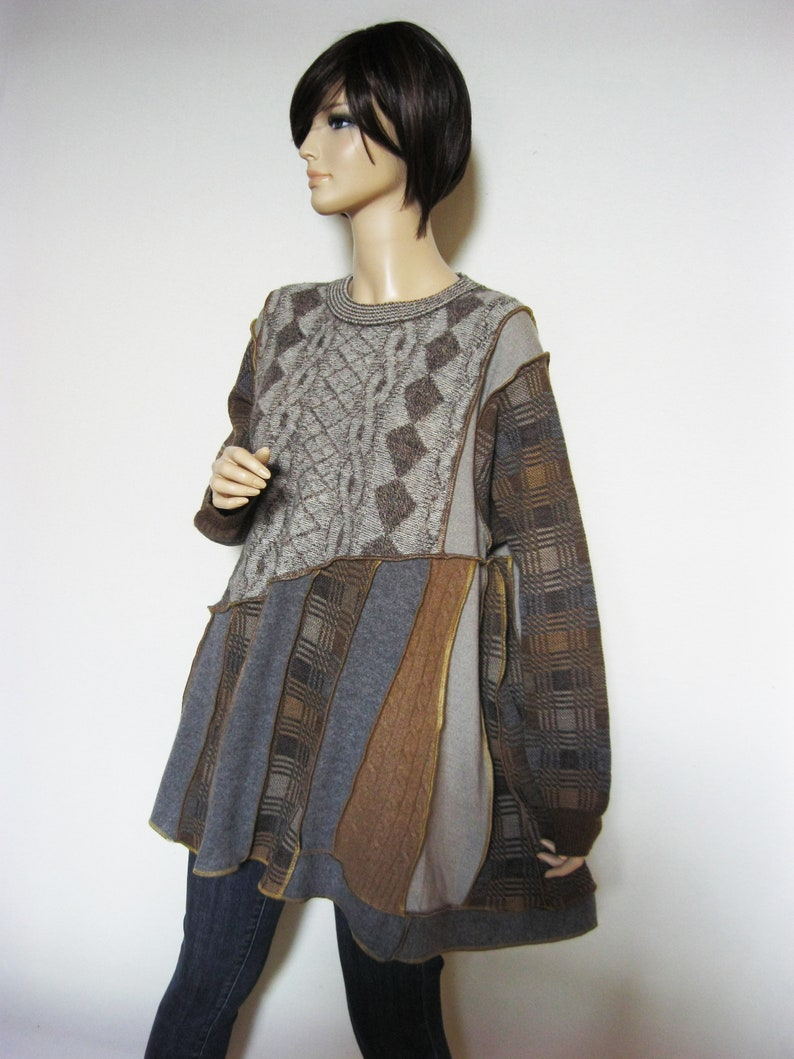 1X to 2X  Sand and Gray Wool Sweater Tunic image 0