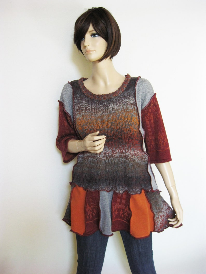 XL Short Gray and Rust Tunic image 0