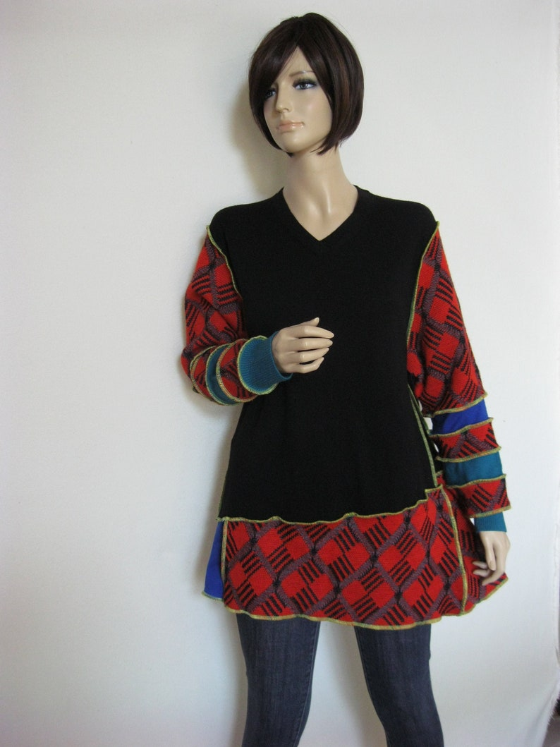 L to XL  Black Red Wool Tunic image 0