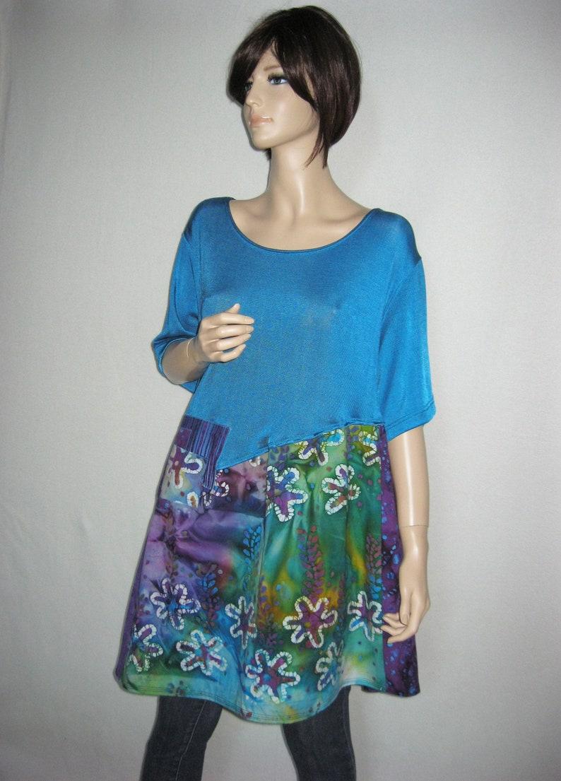 SALE  1X to 3X  Turquoise Batik Tunic image 0