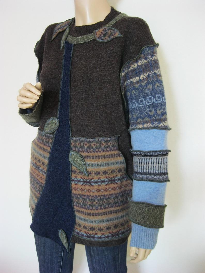 XL to 1X Brown Wool Tunic Kangaroo Pocket image 0