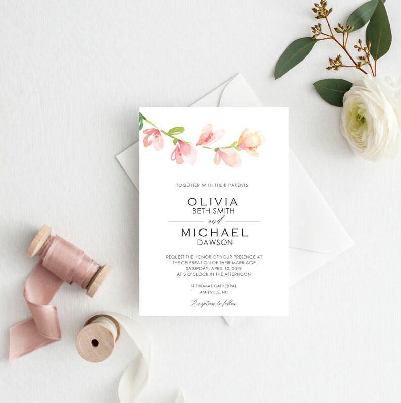 Wedding Invitation Template Floral Invite Garden CalligraphywatercolorPDF Instant Download