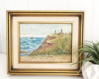 Vintage Original Signed Oil Painting Seascape