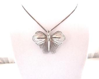 Antique Filigree Butterfly Pendant Brooch  Sterling Silver