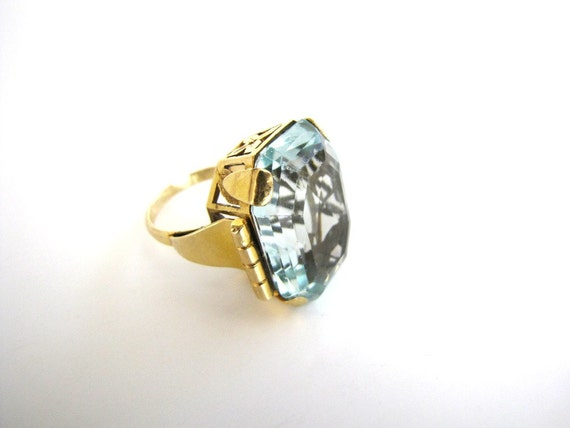 Aquamarine Ring Vintage Art Deco