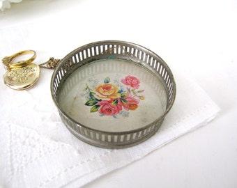 Trinket Dish, Coaster, Roses and Silver, Ring Holder Vintage 1940s