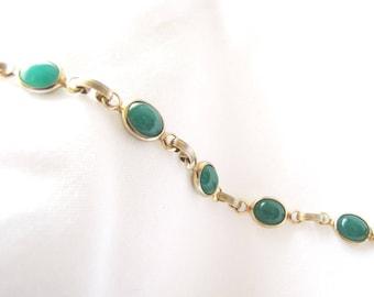 Gold Link Bracelet Green Stones Vintage
