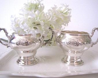 Vintage Silver Plate Cream and Sugar Gorham Chantilly